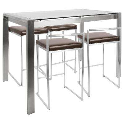 Fuji 5-Piece Brown and Brushed Stainless Steel Counter Height Dining Set