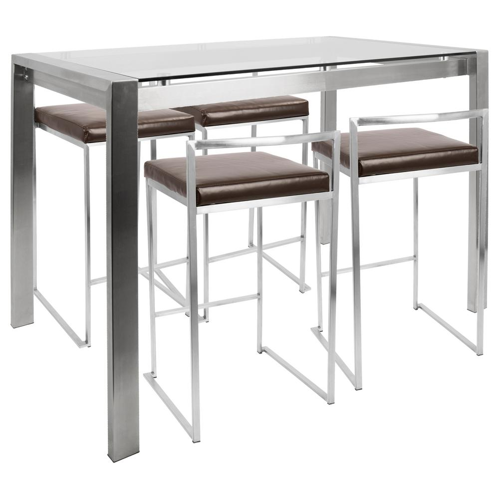 Lumisource Fuji 5 Piece Brown Counter Height Dining Set C Fuji5 Ss