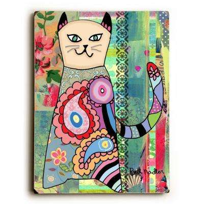 """9 in. x 12 in. """"Colorful Cat"""" by Beth Nadler Solid Wood Wall Art"""