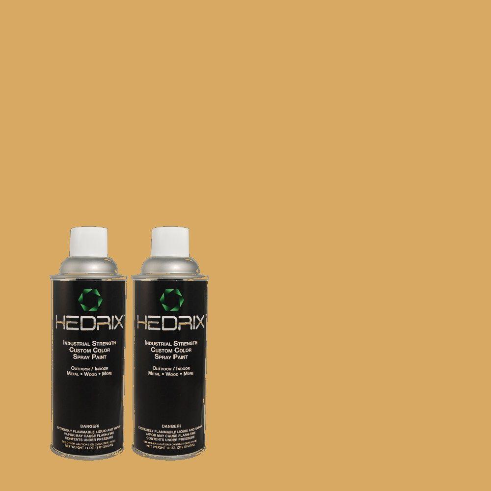 Hedrix 11 oz. Match of 2A9-5 Brass Buckle Flat Custom Spray Paint (2-Pack)