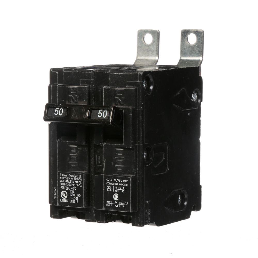 Murray 50 amp three pole type mp circuit breaker mp350 the home depot 50 amp 2 pole type bl bolt on circuit breaker greentooth