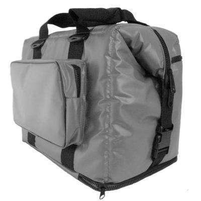 Magnetic Grey 24 cans soft cooler with zippered pouch