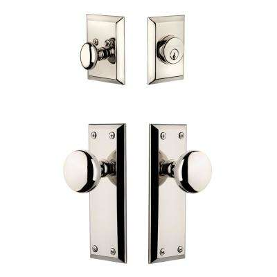 Fifth Avenue Plate 2-3/4 in. Backset Polished Nickel Fifth Avenue Door Knob with Single Cylinder Deadbolt
