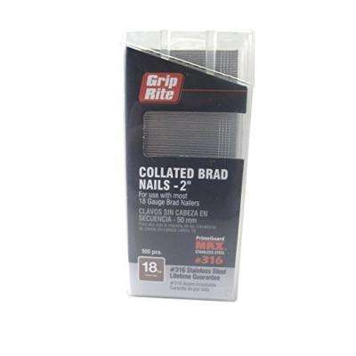 2 in. 18-Gauge 316 Stainless Steel Brad Nails (500 per Box)