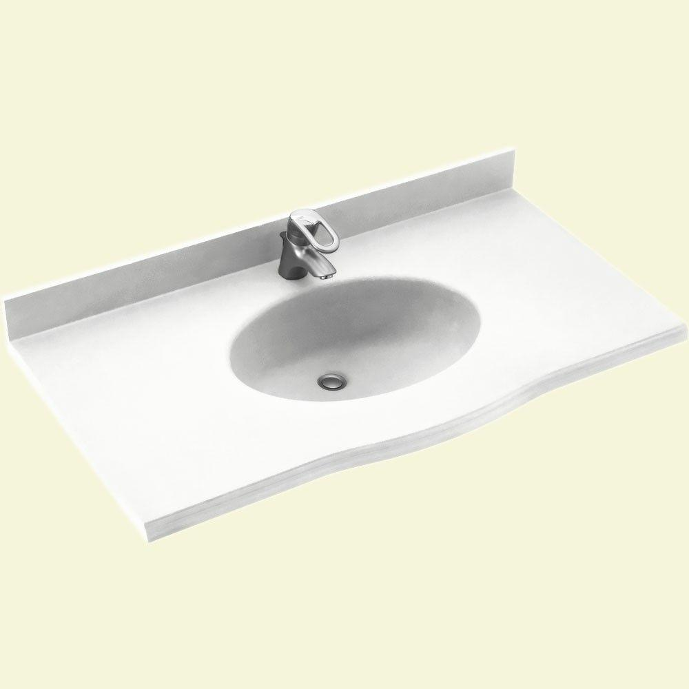Swanstone Europa 61 in. Solid Surface Vanity Top with Basin in White-DISCONTINUED