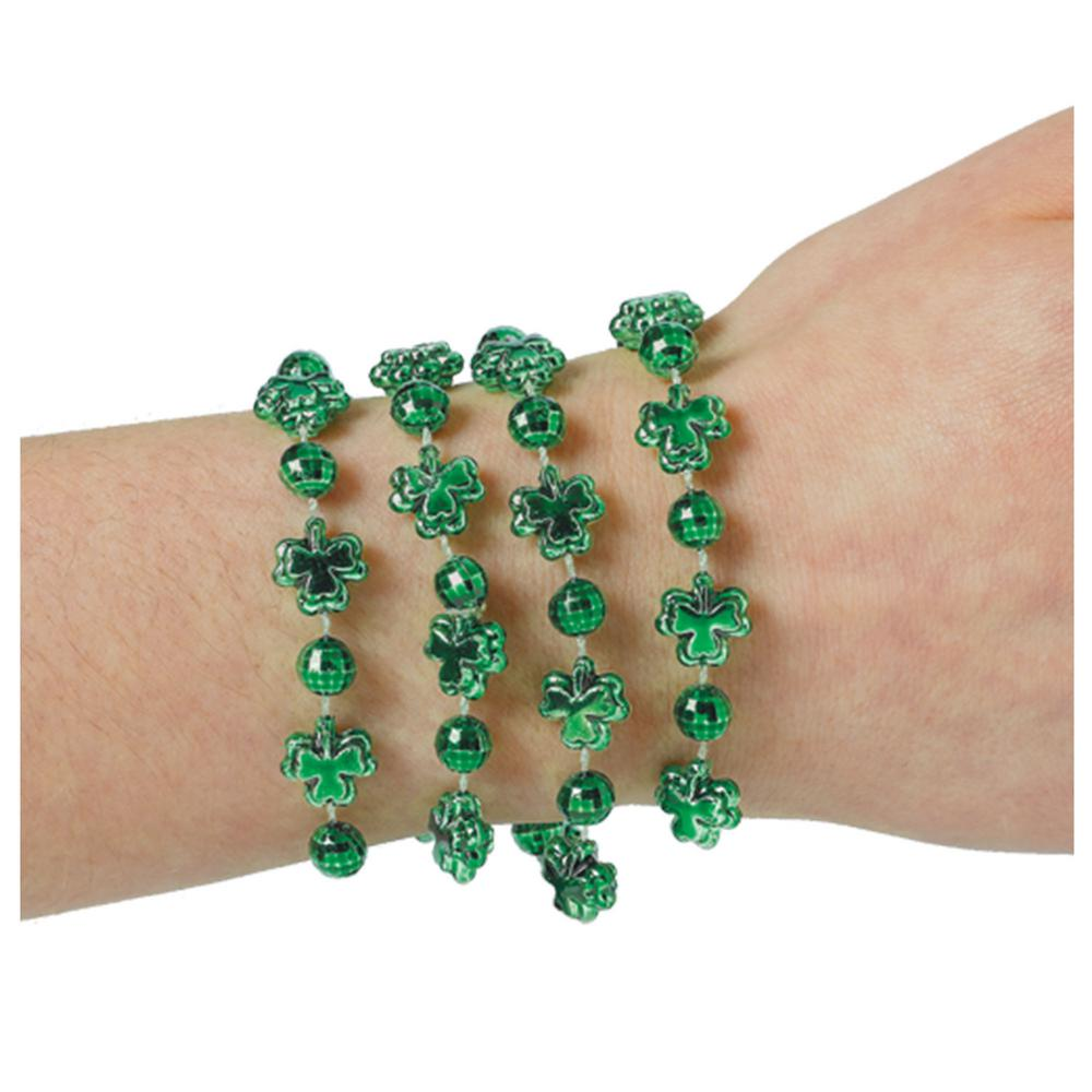 Green Plastic Shamrock St. Patrick's Day Beaded Bracelets (4-Count, 11-Pack)