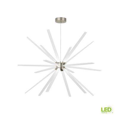 Photon 48 in. W 35.1-Watt Satin Nickel Integrated LED Chandelier 277-Volt Commercial