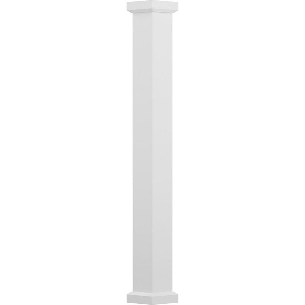 AFCO 5-1/2 in. x 8 ft. Textured White Non-Tapered Square Shaft (Load-Bearing) Endura-Aluminum Empire Style Column