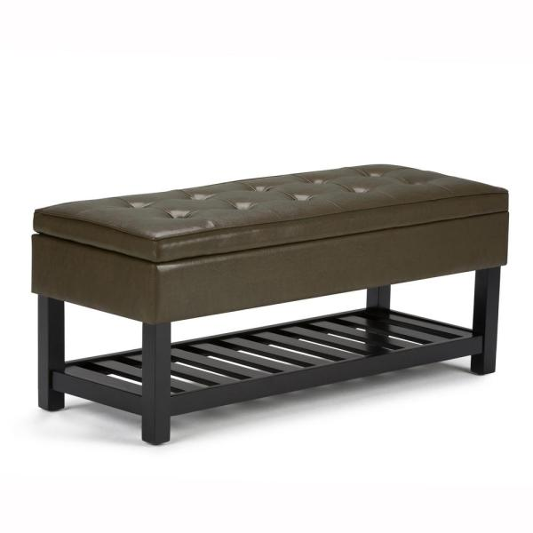 Simpli Home Cosmopolitan 44 in. Traditional Ottoman Bench in Deep Olive Green Faux Leather