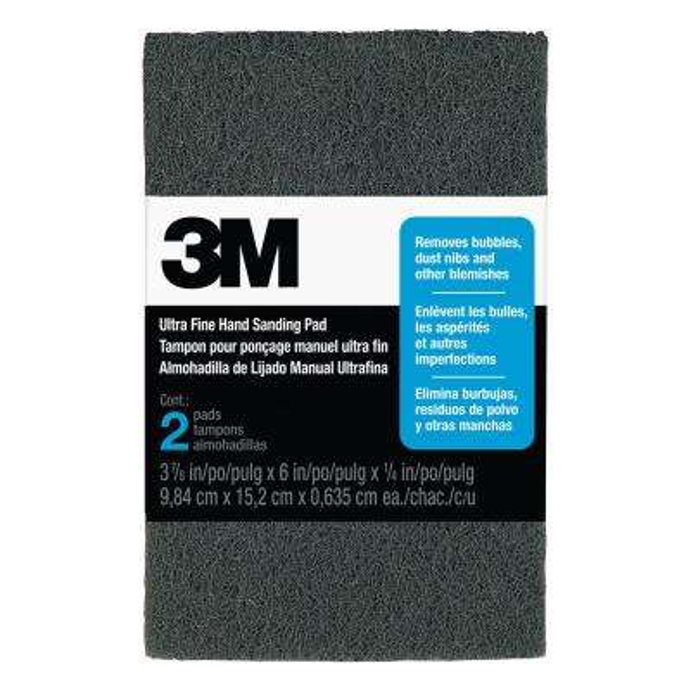 3-7/8 in. x 6 in. x 1/4 in. (9.84 cm x 15.2 cm x 0.635) Ultra Fine Finishing Hand Sanding Pads (2-Pack)
