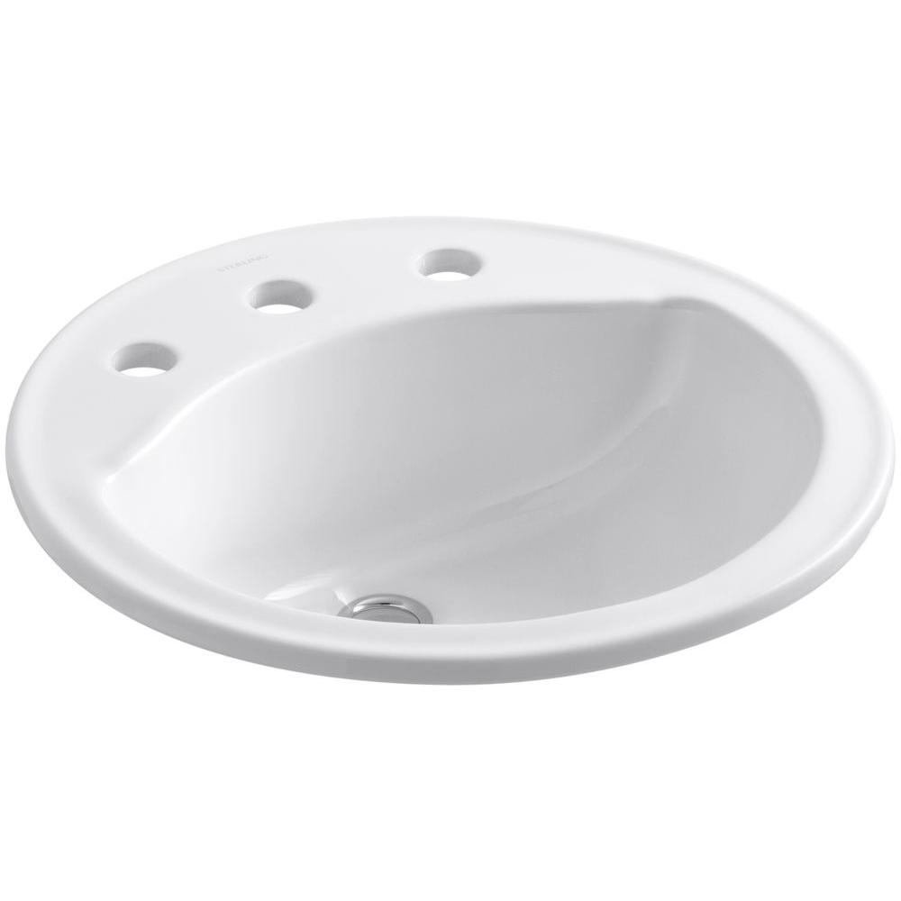 STERLING Modesto Drop-In Ceramic Bathroom Sink in White with Overflow Drain
