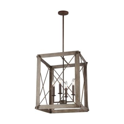 Thornwood Medium 4-Light Washed Pine and Weathered Iron Accents Hall/Foyer Pendant with Dimmable Candelabra LED Bulb