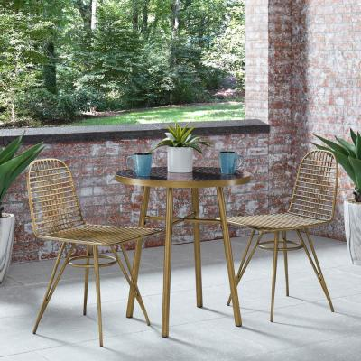 Panama Brushed Brass and Black 3-Piece Metal Outdoor Bistro Set with Marble Tile Top