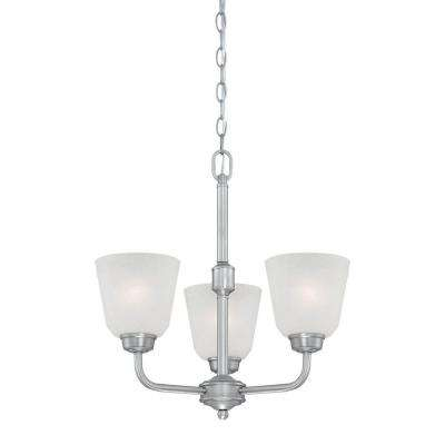 5-Light Brushed Pewter Chandelier with India Scavo Glass