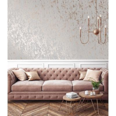 Milan Texture Rose Gold and Grey Removable Wallpaper