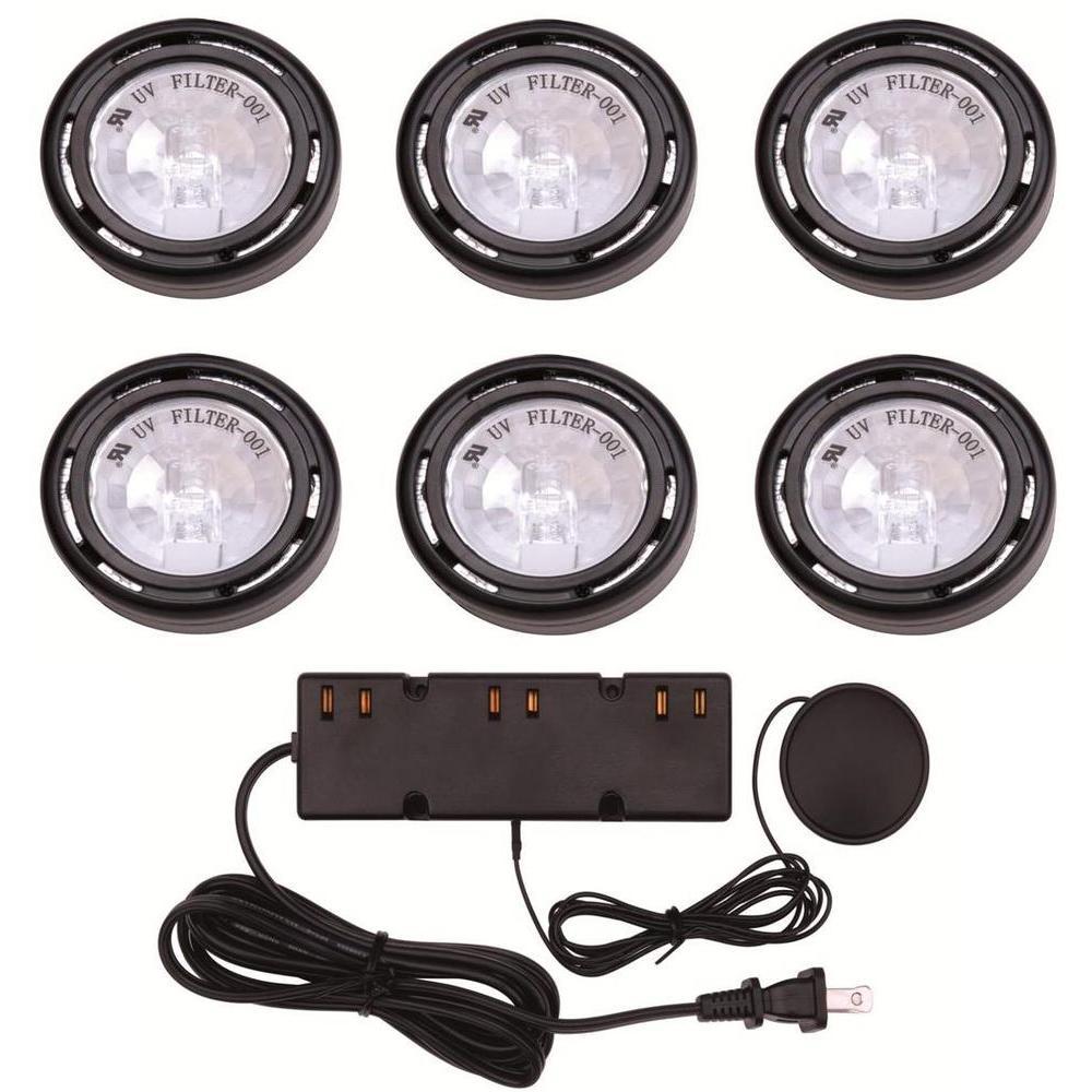 6-Light Xenon Black Under Cabinet Puck Light Kit