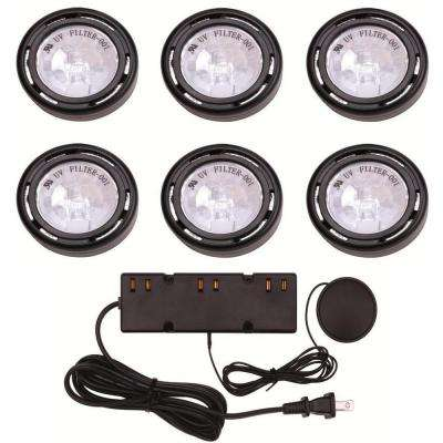6-Light Xenon Black Under Cabinet Puck Light Kit
