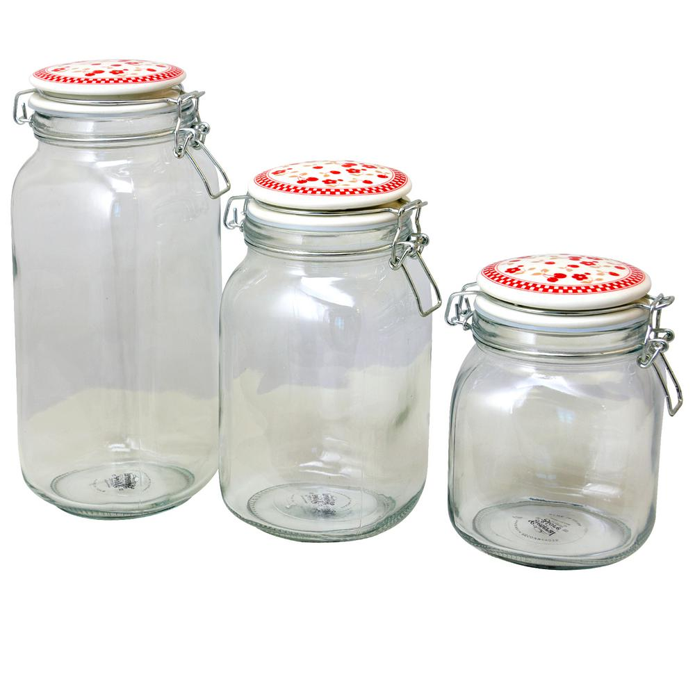 Cherry Diner 3-Piece Preserving/Storage Jar Set