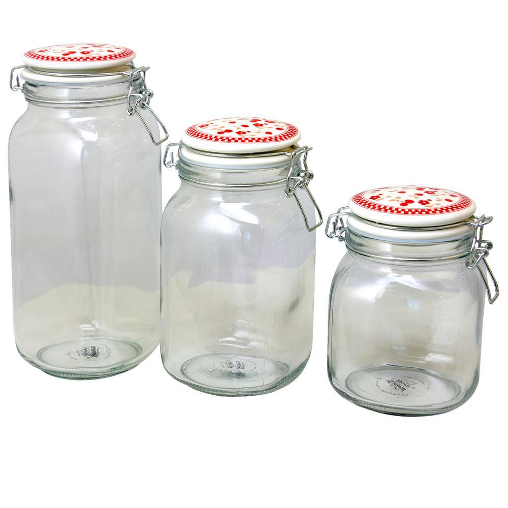Cherry Diner 3-Piece Preserving/Storage Jar Set