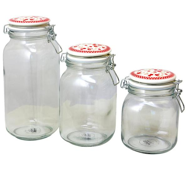 Gibson General Store Cherry Diner 3-Piece Preserving/Storage Jar Set 985100413M