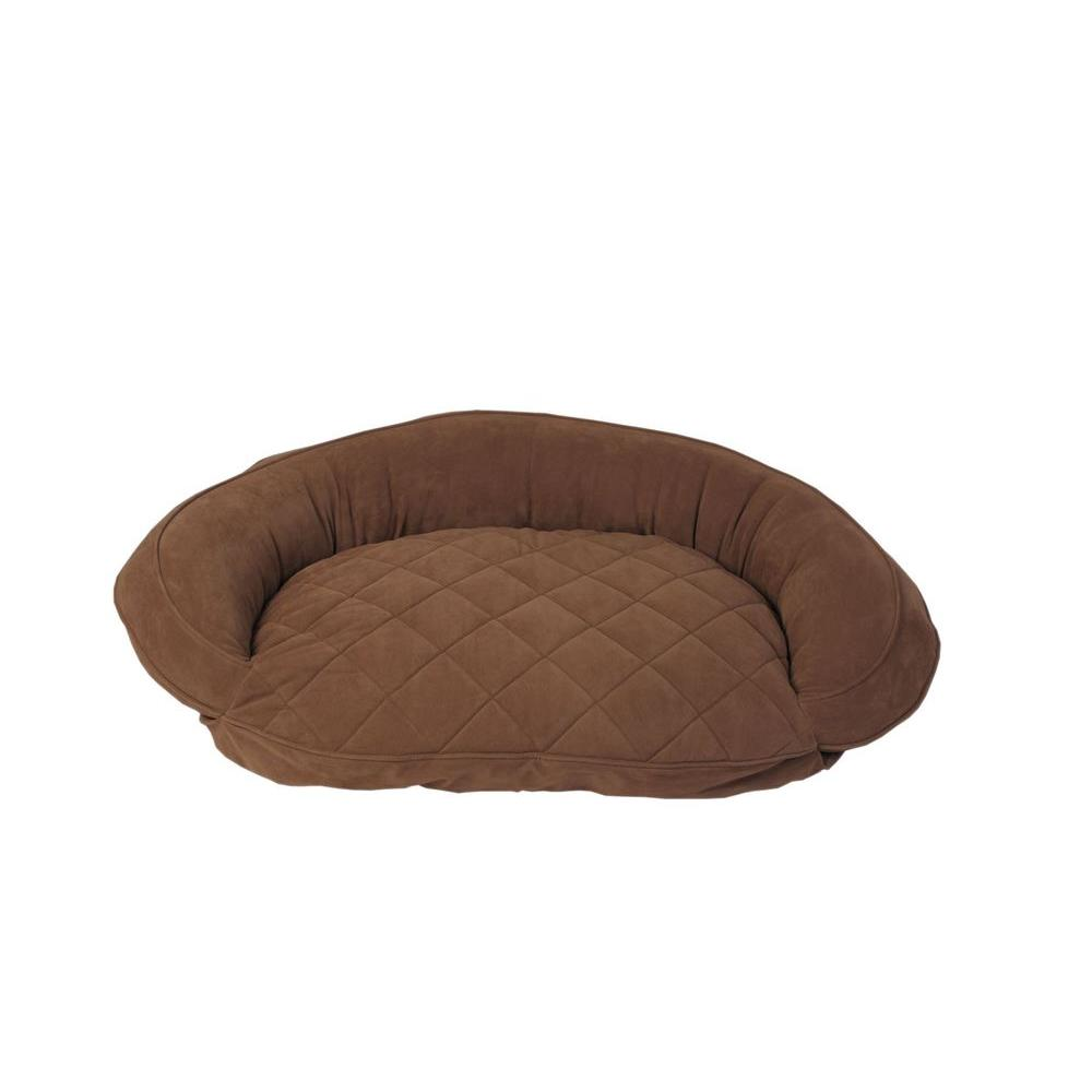 Carolina Pet Company Medium Chocolate Microfiber Quilted Bolster Bed with Moister Protection The ultimate in comfort and luxury for your pet. The Microfiber Quilted Bolster Bed features a plush diamond-quilted fabric. The high loft recycled polyester fill keeps your furry friend healthy and happy by relieving pressure on hips and joints.