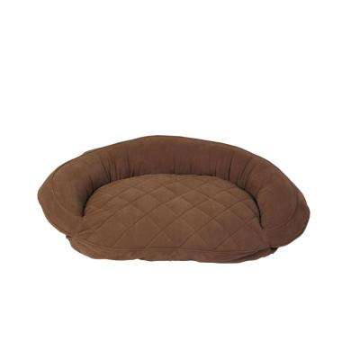 Medium Chocolate Microfiber Quilted Bolster Bed with Moister Protection