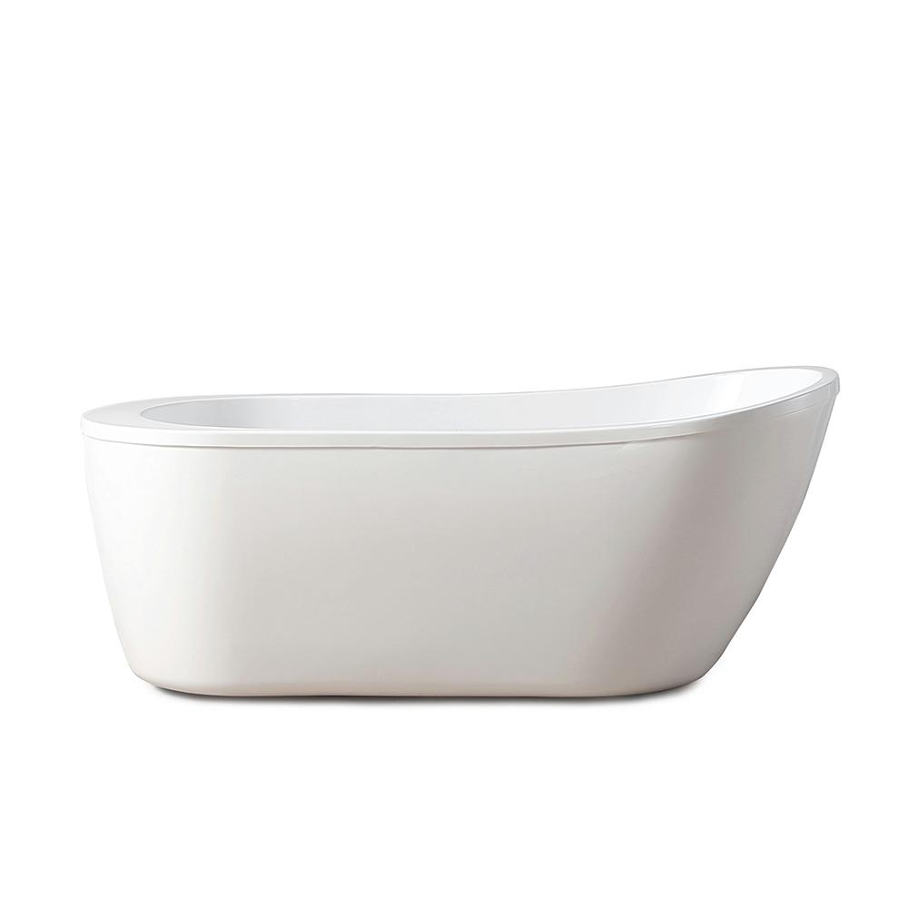 Glacier Bay Makayla 60 in. Acrylic Flatbottom Non-Whirlpool Bathtub in White