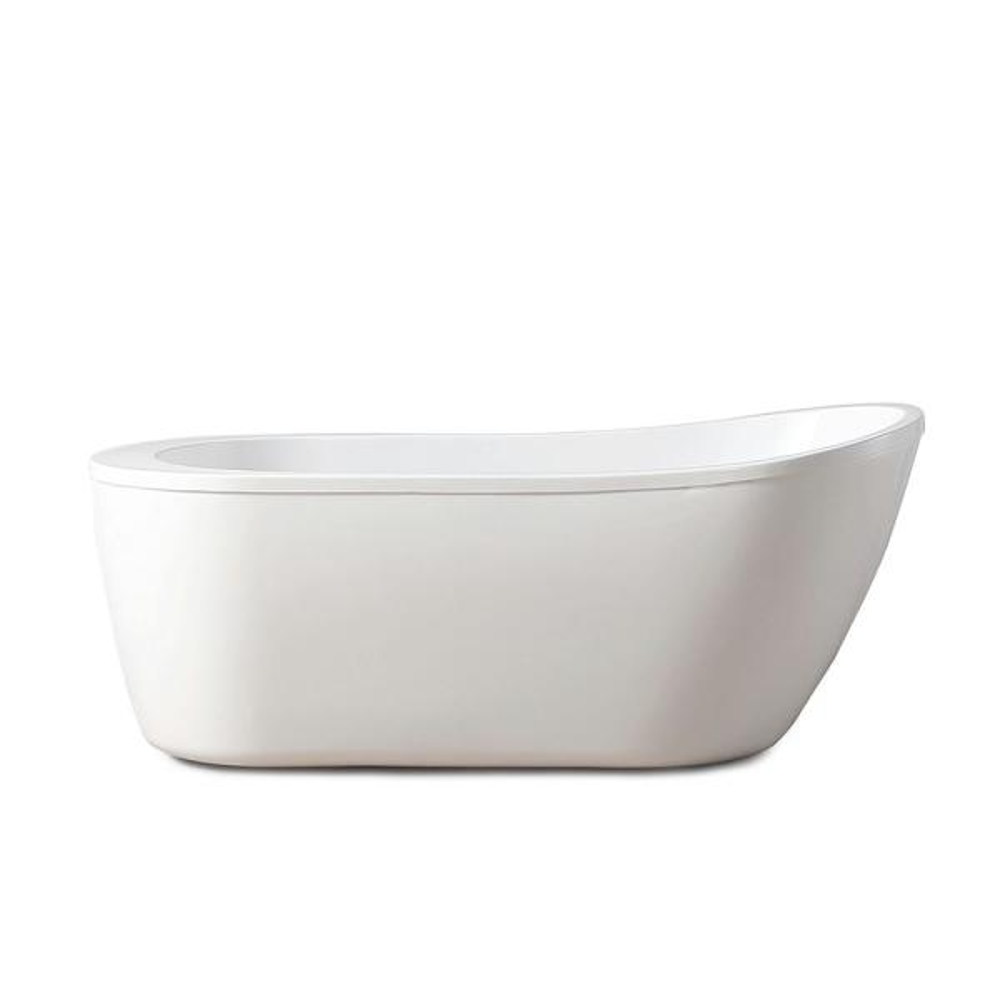 Cantora 60 in. Acrylic Flatbottom Non-Whirlpool Bathtub in White