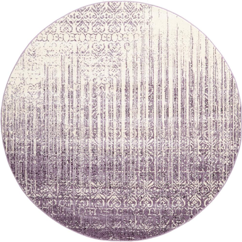 Purple Circle Rugs: Unique Loom Del Mar Purple 8' X 8' Round Rug-3114739