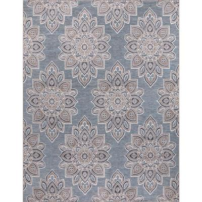 Lara Blue 8 ft. x 10 ft. Geometric Indoor/Outdoor Area Rug