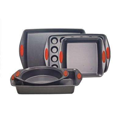 Oven Lovin' 5-Piece Gray and Orange Bakeware Set