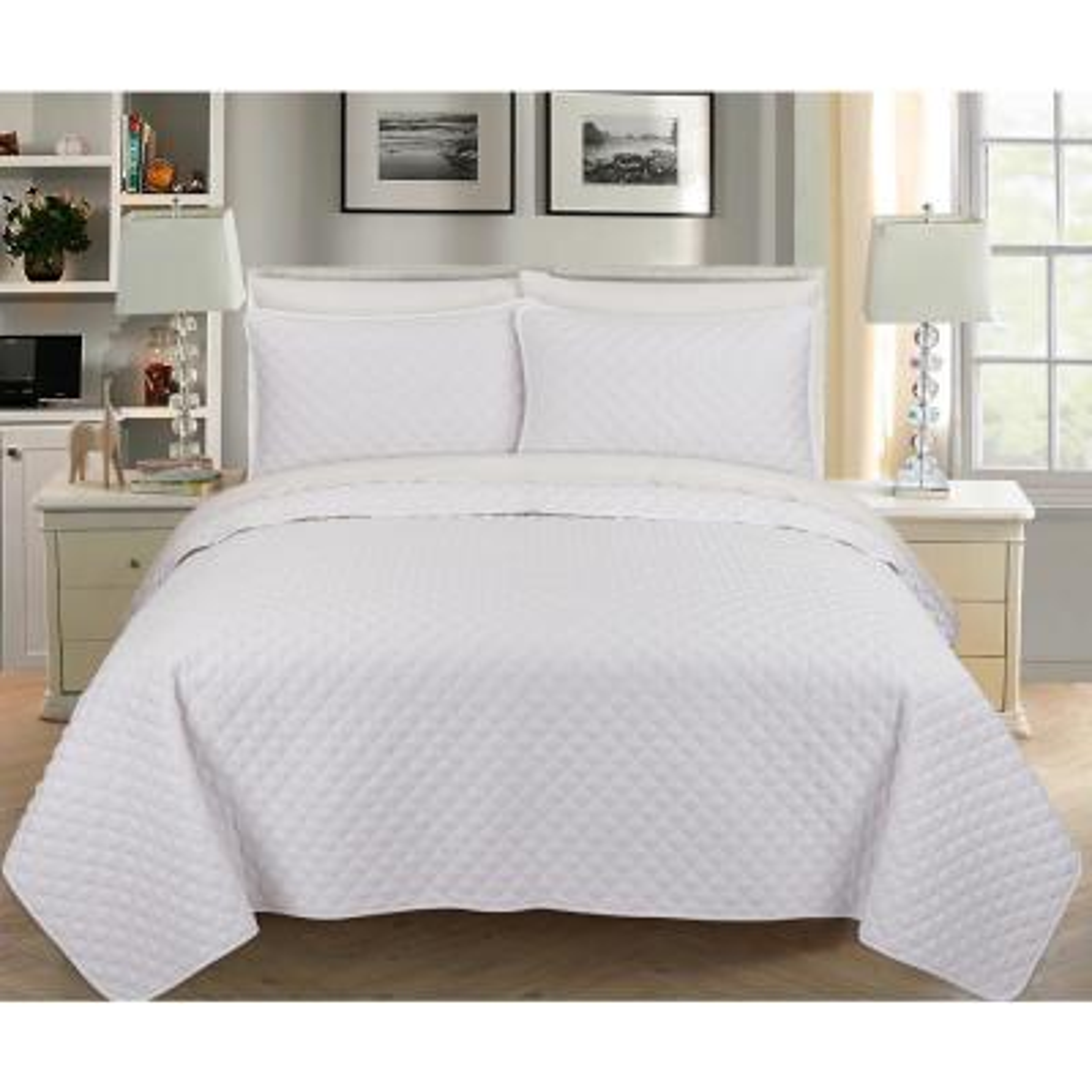Palazzo 3-Piece Cotton White Queen Quilt Set