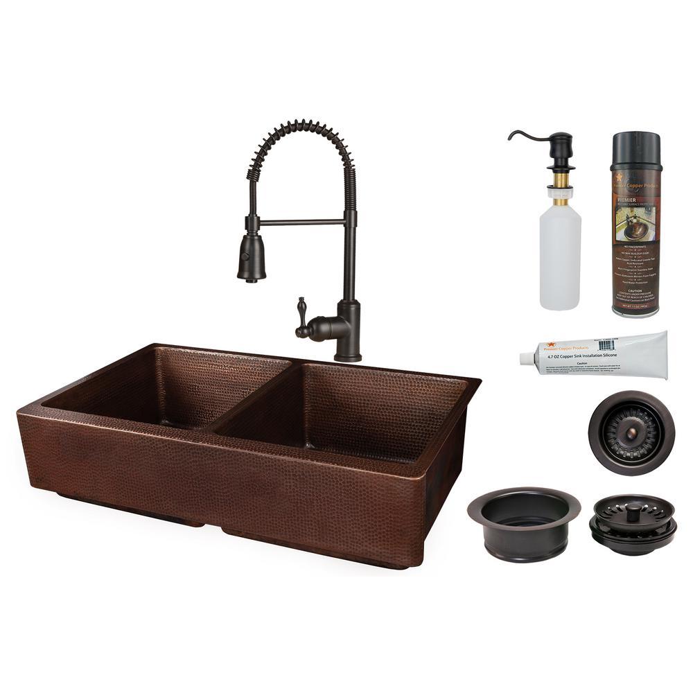 AllinOne FarmhouseApronFront Copper 35 in. 50/50 Double Bowl Retrofit Kitchen Sink w/ Spring Faucet in Oil Rubbed Bronze