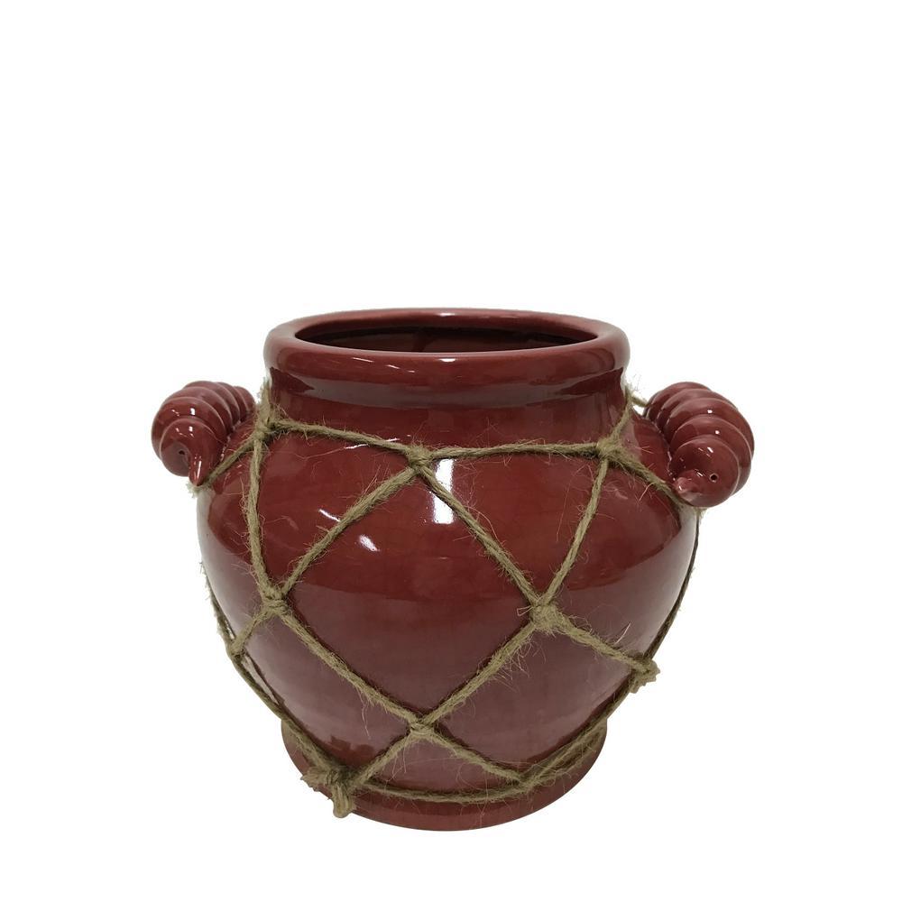 7.5 in. Red Ceramic Decorative Vase