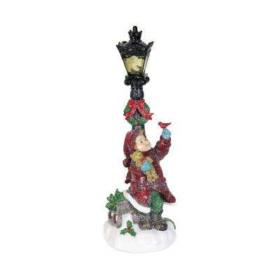 6 in. Holiday Christmas Girl with Timer Garden Decor