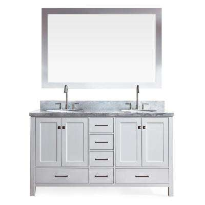 Cambridge 61 in. Vanity in White with Marble Vanity Top in Carrara White with White Basins and Mirror