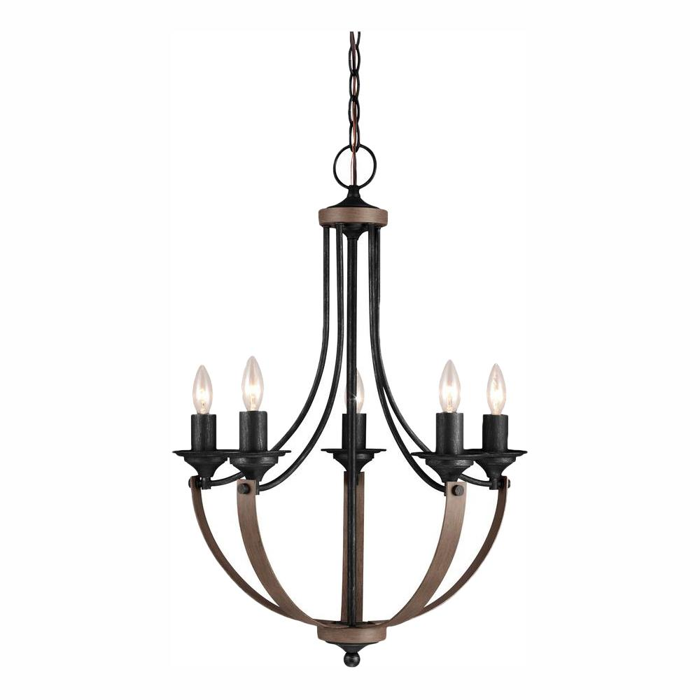 Sea Gull Lighting Corbeille 21.5 in. W 5-Light Weathered Gray and Distressed Oak Single Tier Chandelier with Dimmable Candelabra LED Bulbs