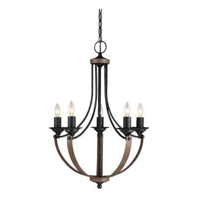 Corbeille 21.5 in. W 5-Light Weathered Gray and Distressed Oak Single Tier Chandelier with Dimmable Candelabra LED Bulbs