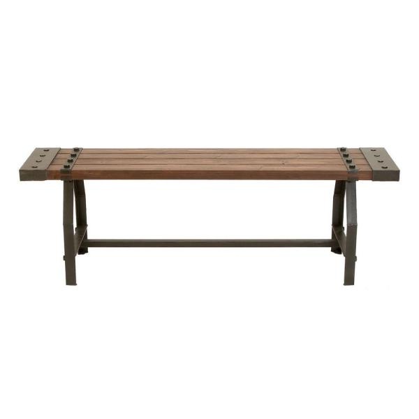 Litton Lane Industrial Black Metal And Brown Wood Bench 51681 The