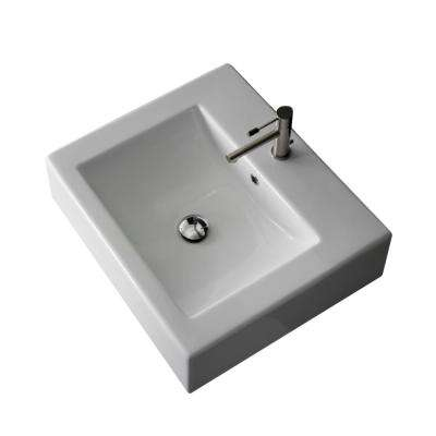 Square Wall Mounted Bathroom Sink in White