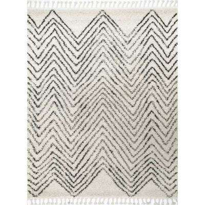 Amanda Moroccan Chevron Tassel Off White 7 ft. 10 in. Square Rug