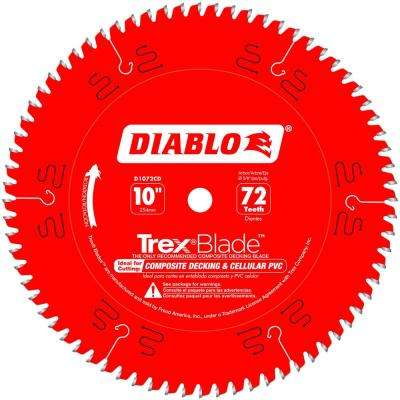 10 in. x 72-Tooth Trex/Composite Material Cutting Saw Blade