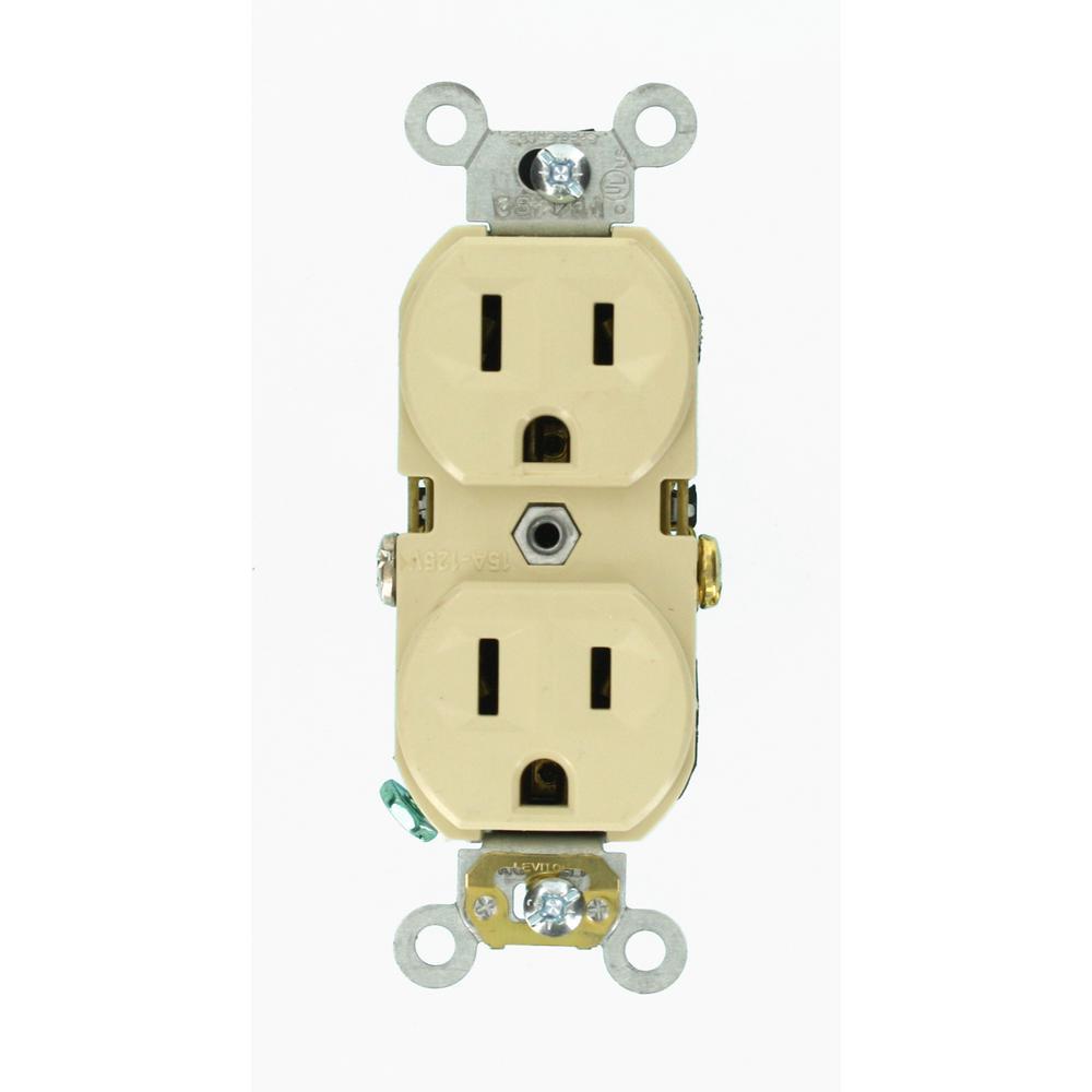 15 Amp Commercial Grade Duplex Outlet, Ivory