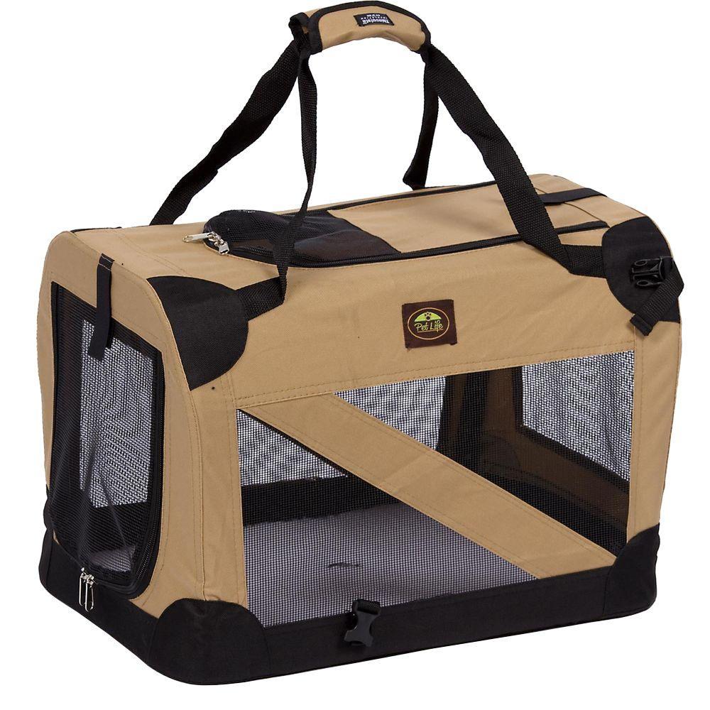 Khaki 360 Degree Vista-View Soft Folding Collapsible Crate - Medium