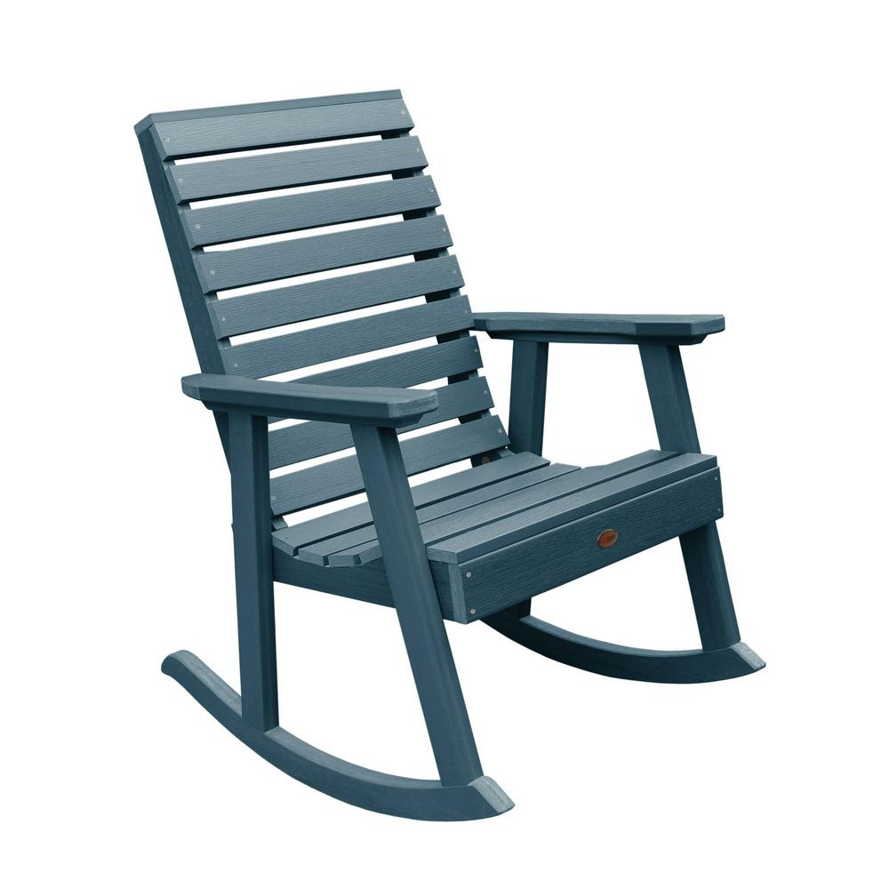 Highwood Weatherly Nantucket Blue Recycled Plastic Outdoor Rocking Chair