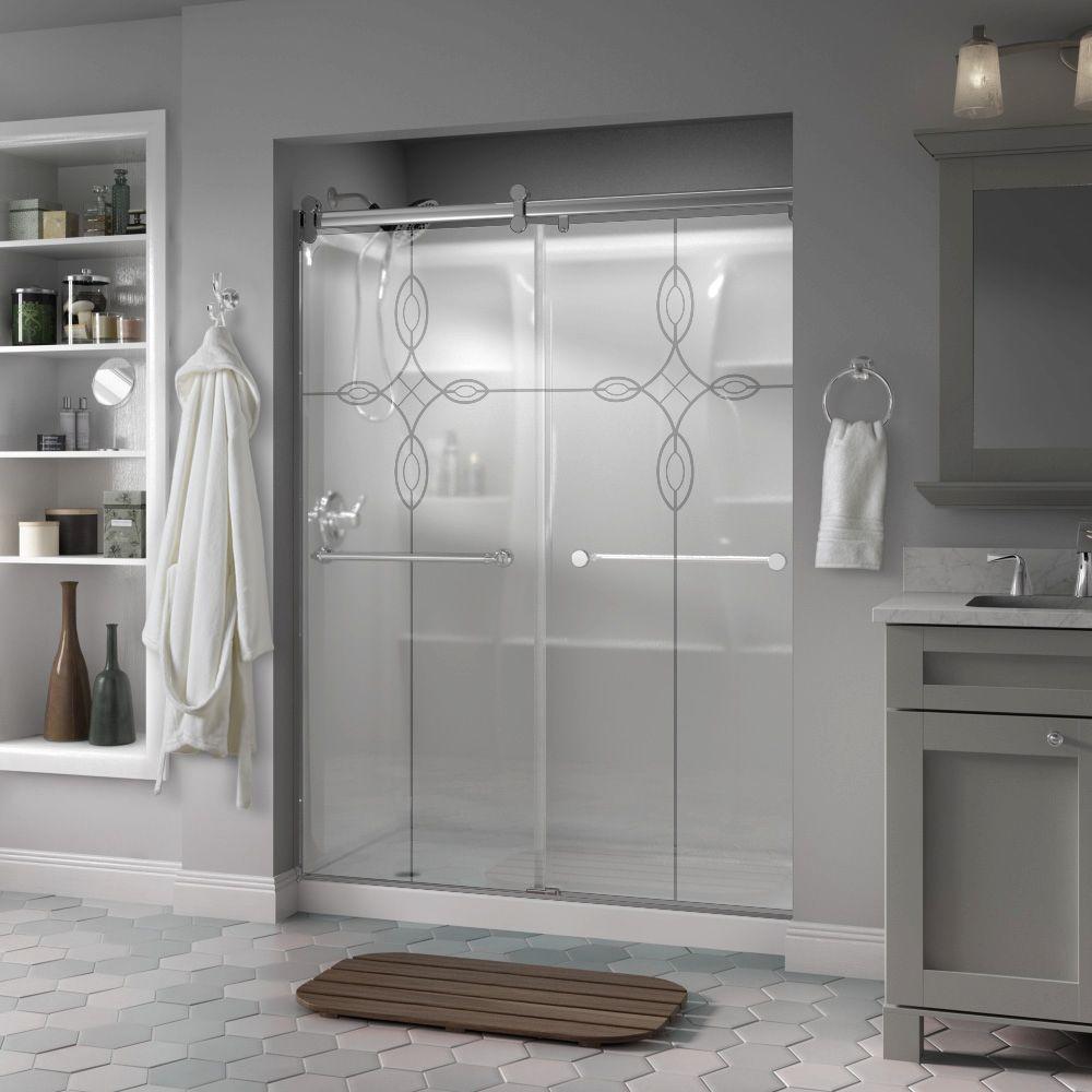 Semi Frameless Delta Bypass Sliding Shower Doors