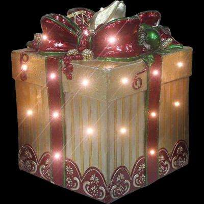 22 in. Christmas Tall Square Gift Box with Long-Lasting LED Lights and Bow in Gold/Red