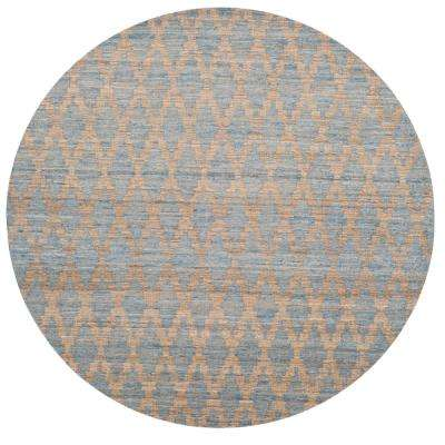 Cape Cod Light Blue/Gold 6 ft. x 6 ft. Round Area Rug