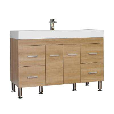 The Modern 47 in. W x 19.5 in. D Bath Vanity in Light Oak with Acrylic Vanity Top in White with White Basin