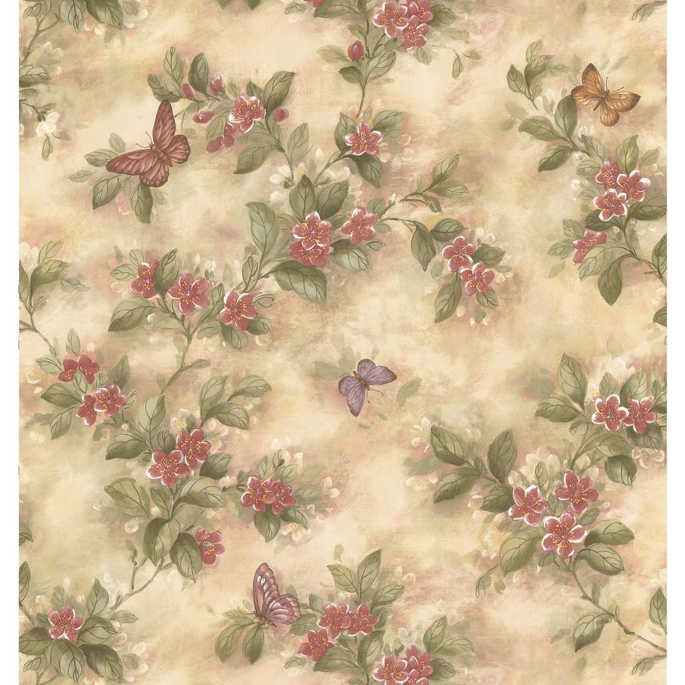 Brewster Butterfly Floral Wallpaper 137 38574 The Home Depot